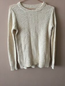 Hollister Ecru White Classic Slit Long Sleeve Jumper Sweater Size S Small