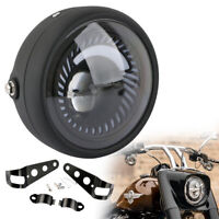 "UK 6.5"" Round Motorcycle White LED Headlight Hi/Lo Beam & Mount For Racer Bobber"