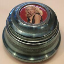 Vintage Blue Metal Round Vanity Powder Puff Music Trinket Box Blonde Lady
