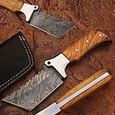 White Deer Damascus Tracker Tanto Knife Full Tang Olive Wood Handle Sawback 1095