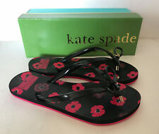 NEW! KATE SPADE NOVA BLACK MINI POPPY PRINT RUBBER SLIPPERS FLIP FLOPS 8 38 SALE