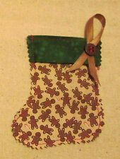 Gingerbreadman Gift Card/Money Stocking Ornament, Handmade, Sewn