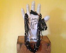 Ethnic boho hippy look wooden black beaded bead stone necklace bracelet cuff set