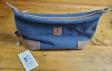 """PETER MILLAR Blue Canvas & Cedar-Tan Leather 7.5"""" x 12"""" Shave/Toiletry Pouch NEW"""