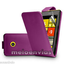 Funda CUERO PIEL para Nokia LUMIA 520 Color MORADO Leather Case Flip Skin Cover