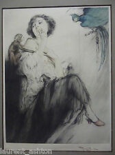 FERNAND TOUSSAINT HAND SIGNED COLOR ETCHING BEAUTIFUL WOMAN WITH PARROT & MONKEY