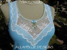 ~Tiny Flowers~Blue Tank w/ Floral lace trim *CUSTOMIZE*