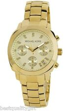 NEW MICHAEL KORS GOLD TONE STAINLESS STEEL+CRYSTAL DIAL+CHRONO+DATE WATCH MK5132