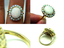 Estate Vintage 4ct Australian Fiery Opal 14k Solid Yellow Gold Halo Cluster Ring