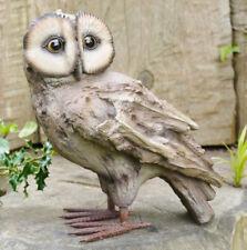 Wood Effect Owl Sculpture Garden Statue Patio Feature Outdoor Figure Ornament