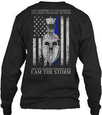 Thin Blue Line I Am The Storm Fate Whispers To Gildan Long Sleeve Tee T-Shirt