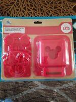 Disney Mickey & Minnie Mouse Sandwich Stamp & Crust Cutter Set - Disney Eats NEW