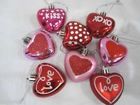 "Valentines Day Pink Red Glitter Hearts 2"" Ornaments Decorations Set of 8"