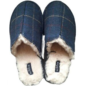 OFFICIAL HOWICK Mens Faux Sheepskin Blue Tartan Cosy Slippers 11 / 12 Mules NEW
