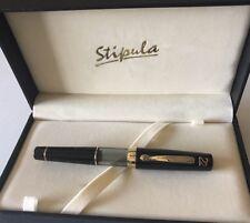 "Stipula Ventidue ""22"" Clear/Black Fountain Pen w/ Medium Titanium Nib NOS"