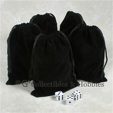 """NEW 5 Dice Bags 5"""" x 7"""" Black Velveteen Cloth Bag Set RPG D&D Game Counter Pouch"""