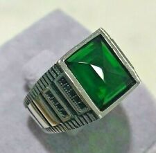 Turkish Handmade Sterling Silver 925 Jewelry Emerald Mens Ring 7 8 9 10 11