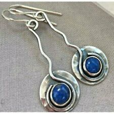 Retro Turquoise Silver Ear Hook Stud Dangle Drop Earrings Moonstone Women Gift