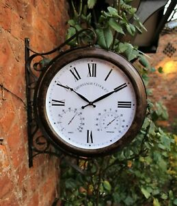 Garden Wall Station Clock Ornament Thermometer double sided Weather Station
