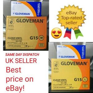 GLOVEMAN MEDIUM And Large Size Disposable Clear Vinyl Powder LATEX FREEGloves