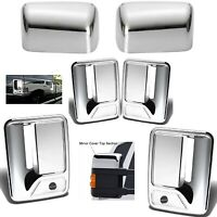 For 2008-2016 Ford F250 F350 F450 Top Chrome Mirror Cover + 4Dr Handle With PSKH