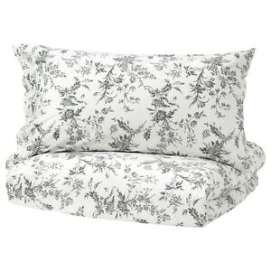 NEW IKEA ALVINE KVIST Full / Queen Duvet Cover 3 pc Set GRAY WHITE FLORAL TOILE