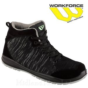 Workforce Steel Toe Cap Black Knitted Safety Boots Shoes Trainers Lightweight 36