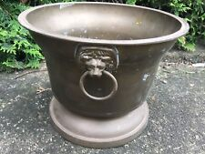 LARGE Vintage FRITZ BRASS Copper Flower Floor Planter POT Tub With  Lion Heads