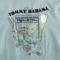 """TOMMY BAHAMA WOMEN'S MEDIUM EMBROIDERED SILK SHIRT BUTTON FRONT """"HAPPY NEW YEAR"""""""