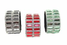Women's Glass & Crystal Wide Magnet Bracelet Red, Green & Clear ShoppingBuyFaith