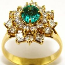 3Ct Round Emerald Cushion Diamond Halo Engagement Ring 14K Yellow Gold Vermeil
