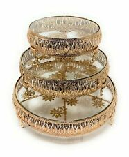 Gold Wedding Cake Stand Set of 3, Glass Top Round Ornate Metal Plateau Riser