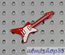 LEGO - Red Electric Guitar Curved White - Minifigure Rock Star Band Instrument