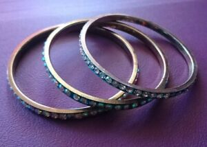 3 Sparkly blue/gold Indian jewellery bangles