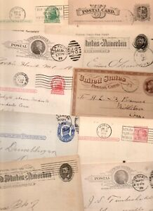 10~1800s -1900s US POSTAL CARDS MIXED LOT~ADVERTISEMENTS MSGS FANCY CANCELS 16#
