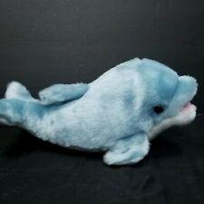 """Teal Blue White Dolphin Plush Stuffed Animal Alfa Fuzzy Town 12"""" Long Sea Life"""