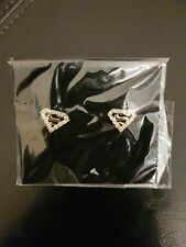 BNWT Silver & Diamante Superman Stud Earrings
