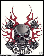 MOTORCYCLE BIKER TRIBAL SKULL~BUILT FOR SPEED~TEMPORARY TATTOO~HALLOWEEN COSTUME