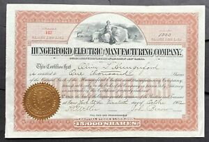 HUNGERFORD ELECTRIC & MANUFACTURING CO Stock 1902. WV. New York City. ABNC. VF++