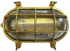 Solid Brass Exterior/outside Lighting Oval Cage Bulkhead complete with LED lamp