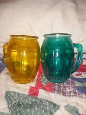 2 Vintage Coloured Root Beer  Glass