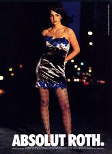 1991 Absolut vodka fashion Christian Francis Roth Sarah Brumm MAGAZINE AD