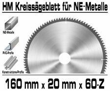 ALU Hartmetall Kreissägeblatt 160 mm x 20 x 60-Z Negativ Aluminium NE-Metall XT