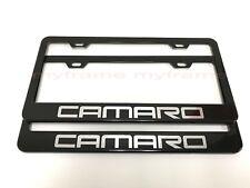 (2PCS) *CAMARO* BLACK Metal License Plate Frame with Screw Caps
