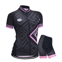 Women's Cycling Set Summer Zip Jersey Shorts Outdoor Sports Riding Race Clothing