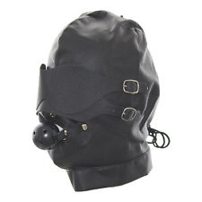 Heavy Duty Leather Padded Lockable Hood Mask Halloween 01