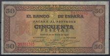 BILLETE ESPAÑA - 50 PESETAS BURGOS AÑO 1938 - SERIE D - EBC-