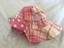 Pottery Barn Kids Pink Dot Plaid Reversible Hat 3-6 Months Nwot