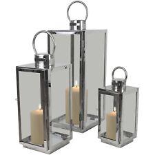 3tlg Laternenset Windlicht Laterne Kerzenhalter H56/42/30cm Metall Glas Silber