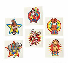 72 Circus Carnival Temporary Tattoos Kids Birthday Party Favors Body Art